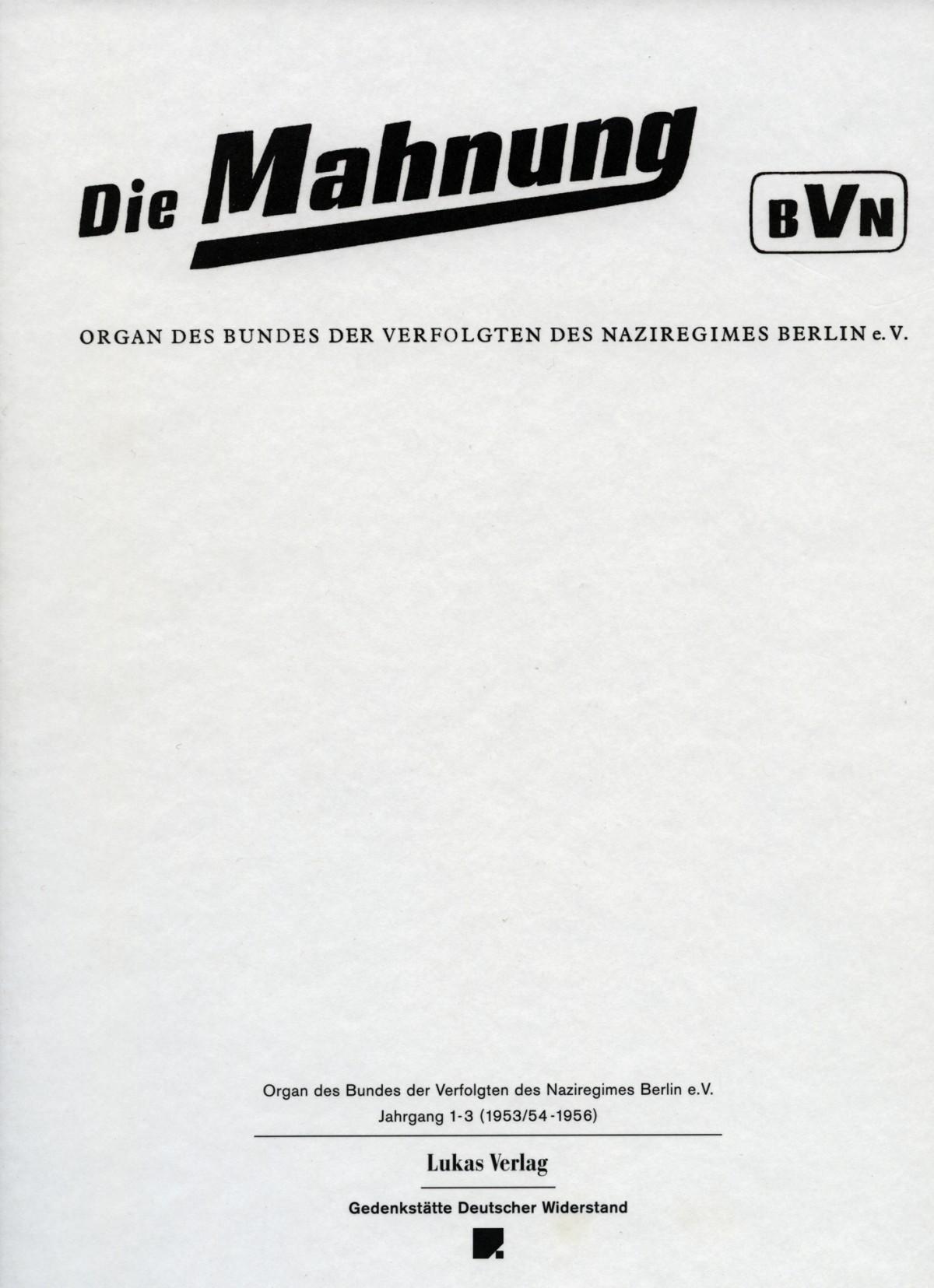 Die Mahnung Lukas Verlag Für Kunst Und Geistesgeschichte